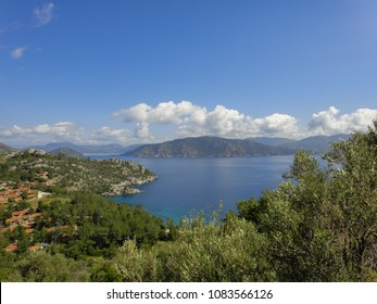 Amos ancient city area on the shore of Marmaris gulf near Kumlubuk, Iclemer and Turunc towns. Turkish riviera