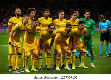 Amos Pieper, Axel Witsel, Akanji, Lukasz Piszczek, Thomas Delaney, Burki, Marco Reus, Pulisic, Paco Alcacer, Achraf Hakimi,Jadon Sancho. At.Madrid v Dortmund at Wanda Stadium, , Madrid on Nov. 6 2018.