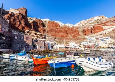 Amoudi port of Oia, Santorini island, Greece