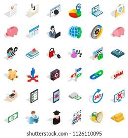 Amount of money icons set. Isometric set of 36 amount of money icons for web isolated on white background
