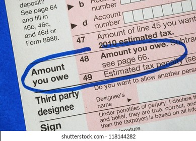 Amount owe in the income tax return