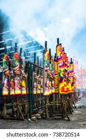 AMPANG 21 OCTOBER 2017 - Giant joss-sticks burning at the Kau Ong Yah Temple in Ampang.