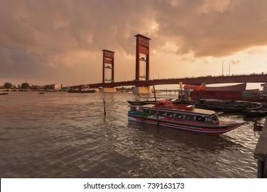 Ampera Bridge, Palembang buffeted by the light of dusk. 09 March 2016