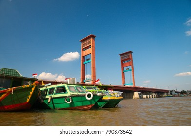 Ampera Bridge in Palembang, South Sumatra, Indonesia