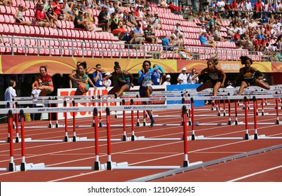 AMPERE, FINLAND, July 14: Athlets running 100 metres hurdles semi-final in the IAAF World U20 Championship in Tampere, Finland 14 July, 2018.