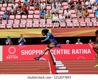 AMPERE, FINLAND, July 14: CORTNEY JONES from USA win 100 metres hurdles semi-final in the IAAF World U20 Championship in Tampere, Finland 14 July, 2018.