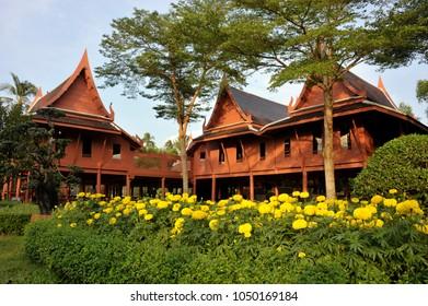 Amphawa Cultural Heritage Museum in King Rama II memorial park, Samut Songkram province, Thailand.