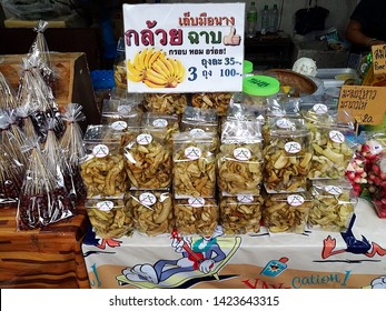 Amphawa District of Samut Songkhram Province, Thailand - September 22, 2018: Pictures of a usual, busy day with delicious Thai food at Amphawa Floating Market