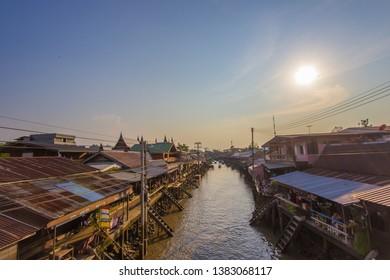 Amphawa district,Samut Songkhram Province,Thailand on April 12,2019:Evening sun at Amphawa Floating Market