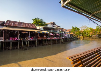 Amphawa district,Samut Songkhram Province,Thailand on April 12,2019:Attractive scene of Amphawa Floating Market.