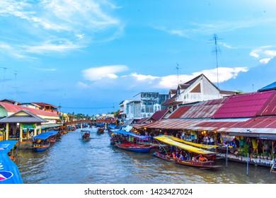 Amphawa Floating Market, Samut Songkhram,Thailand-May 18,2019 : Picture of Amphawa Floating Market. There are boat trips.