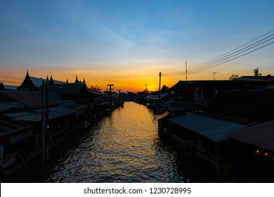 Amphawa floating market at sunset, The most famous of floating market in Thailand, 3-November-2018,   Amphawa ,Samutsongkhram, Thailand