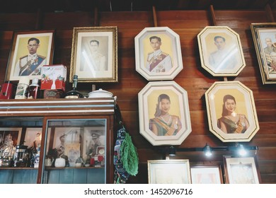 Amphawa, Thailand: 5 May, 2019 - The picture of the past KING rama nine and the queen of Thailand; Bhumibol Adulyadej and queen SIRIKIT, on the wall and display in the local cafe in upcountry