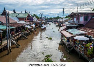 Amphawa, Thailand - Sep 13, 2015: Main canal of Amphawa floating food market, full of boats and small restaurants
