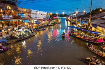 Amphawa, Thailand-June 10  Amphawa floating Market at night, 110 km from Bangkok, most famous floating market and cultural tourist destination on June 10, 2016 in Amphawa, Thailand.