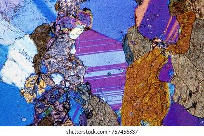 Amphibolite rock under the microscope