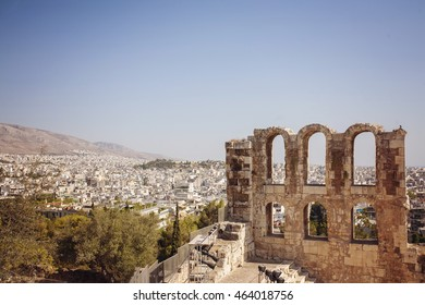 Amphitheater of the Acropolis of Athens with view on the city. UNESCO World Hetiage site.