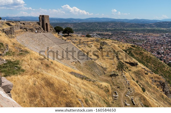 Amphitheater or amphitheatre at ruined old Greek city at Aeolis now known as Pergamum or Pergamon in Turkey