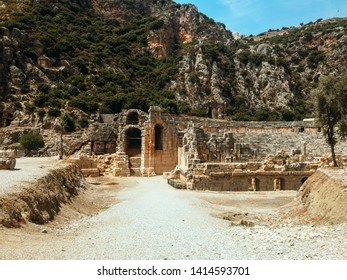 Amphitheater of the ancient city Mira Landscape with ancient Greek amphitheater in Demre