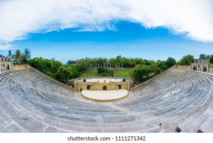 Amphitheater in ancient village Altos de Chavon - Colonial town reconstructed in Casa de Campo, La Romana, Dominican Republic. tropical seaside resort