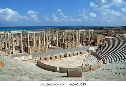 The amphitheater in the roman African colonial city of Leptis Magna in Libya