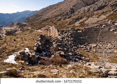 The amphitheater of Sagalassos, the ancient city was founded on the south facing slopes of the Taurus mountain range and was the metropolis of the Roman province of Pisidia.