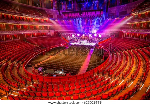 Amphitheater and scene at Royal Albert Hall. London, Great Britain.