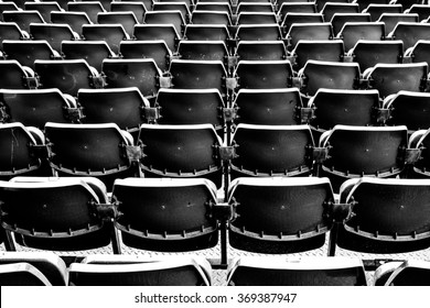 Amphitheater of seats, Black and white photo.