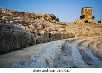 amphitheater in Siracusa - Syracuse, Italy at sunset light