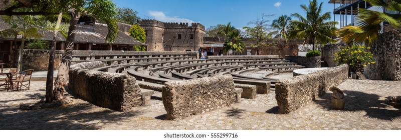 Amphitheater in Stone Town, Zanzibar, House of Wonders is near, panoramic view,public space used for occasional cultural events, it is built in the old fort, Tanzania, Africa