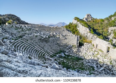 The amphitheater in Termessos Ancient City in Antalya. Termessos one of Turkey's major attractions, the magnificent nature and mountain view 30km northwest of Antalya.  May 2018 Turkey