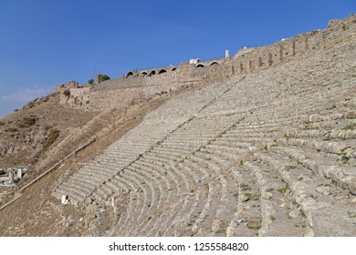 Amphitheatre (amphitheater) of the ancient city of Pergamum (Pergamon), Turkey. Ruins of amphieatre in Acropolis (Akropolis).