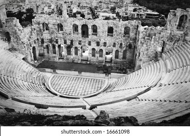 the amphitheatre at the athens acropolis in black and white