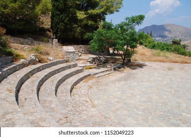 The amphitheatre at the Cave of Charkadio on the Greek island of Tilos. The bones of prehistoric Pigmy Elephants were discovered in the cave in 1971.
