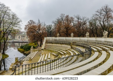 Amphitheatre in a city Park. Lazienki Krolewskie is a popular tourist place in the city center, Warsaw, Poland.