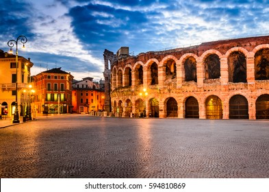 The amphitheatre, completed in 30AD, the third largest in the world, at dusk time. Piazza Bra and Roman Arena in Verona, Italy