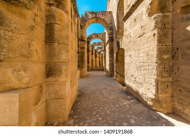 Amphitheatre of El Jem, an oval amphitheatre in the city of El Djem, Tunisia. It is listed by UNESCO since 1979 as a World Heritage Site.