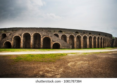 The Amphitheatre of Pompeii at the ancient Roman city of Pompeii, which was destroyed by mount Vesuvius volcanic eruption in AD 79.