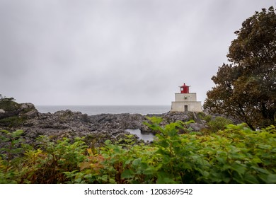 Amphitrite Point Lighthouse, located off Barkley Sound & near the town of Ucluelet and along the famous and popular Pacific West Coast Trail. Vancouver Island, British Columbia, Canada