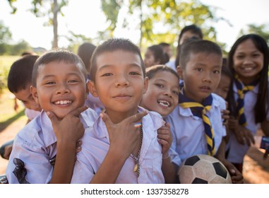 Amphoe Thung Fon, Chang Wat Udon Thani, Thailand. November 16, 2016. kids after school in isan thailand, happy to go home.