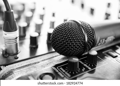 Amplifier close up and microphone -  black and white photo