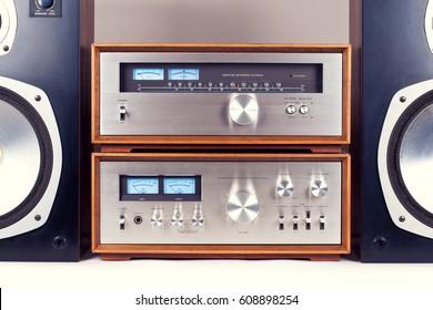 Amplifier, Tuner, Speakers Stereo Vintage Audio System Retro Set
