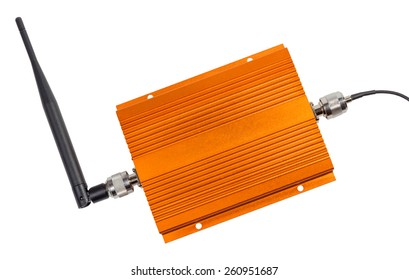 Amplifying signal repeater for GSM cellular phone with antennas mounted isolated on white background