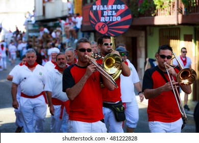 AMPUERO, SPAIN - SEPTEMBER 10: Unidentified group of musicians with a saxophone before the Bull Run on the street during festival in Ampuero, celebrated on September 10, 2016 in Ampuero, Spain