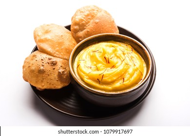 Amrakhand OR Mango Shrikhand with puri or Poori