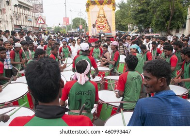 AMRAVATI, MAHARASHTRA, INDIA - 11 SEPTEMBER 2015 : Ganesha idols are being transported for immersion with drums in water bodies, This is an annual festival.