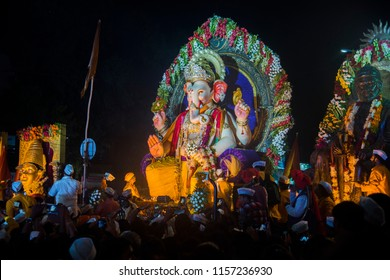 AMRAVATI, MAHARASHTRA, INDIA 16 SEPTEMBER 2017 : Thousands of devotees bids adieu to Lord Ganesha during Ganesh Visarjan which marks the end of the ten-day-long Ganesh Chaturthi festival.