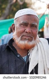 AMRAVATI, MAHARASHTRA, INDIA - 19 AUGUST 2016 : Unidentified portrait of pathan muslim man on street market. Mumbai, Maharashtra, India.