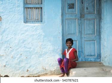 AMRAVATI, MAHARASHTRA, INDIA - 19 AUGUST 2016 : unidentified happy Indian rural children at their village, Amravati , Maharashtra, India