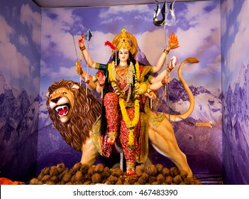 AMRAVATI, MAHARASHTRA, INDIA- 21 OCTOBER 2015 : Durga Idol during Durga puja Navratri, Amravati, Maharashtra, India.